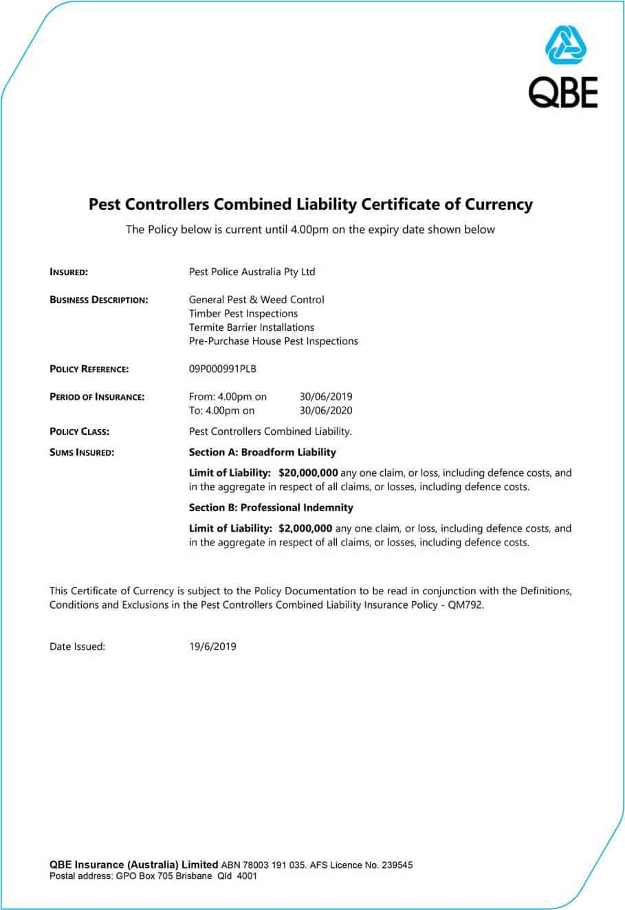 Certificate of Currency